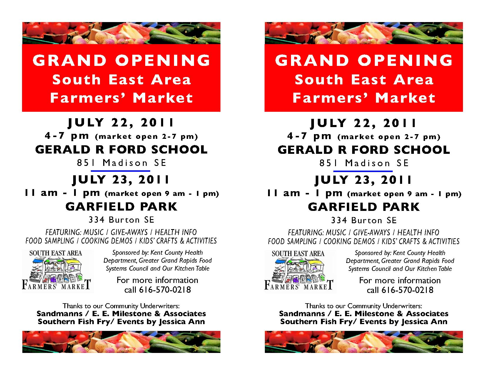 southeast area farmers market grand opening flyer our kitchen table advertisements