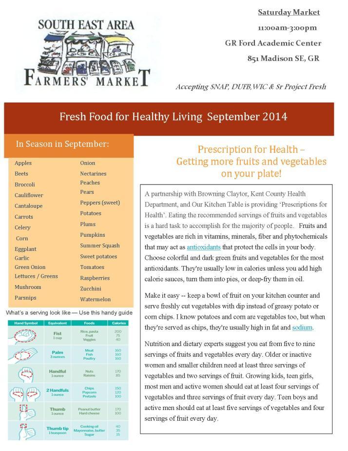 SEA Farmers Market Newsletter September 2014 - 1