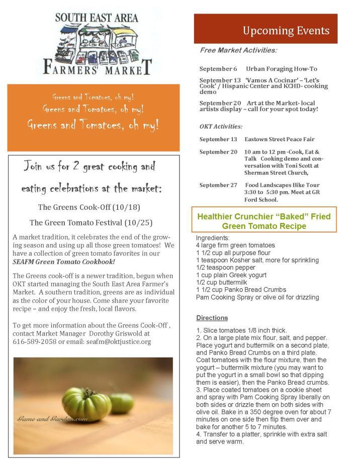 SEA Farmers Market Newsletter September 2014 - 2